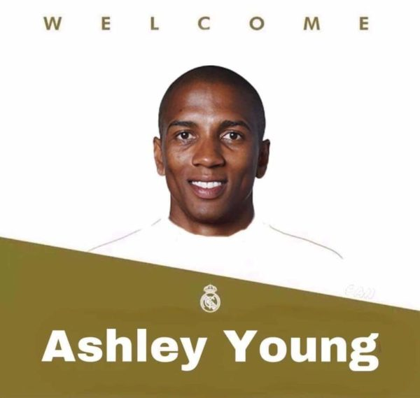 Fake tweet announcing the signing of Ashley Young by Real Madrid has gone viral