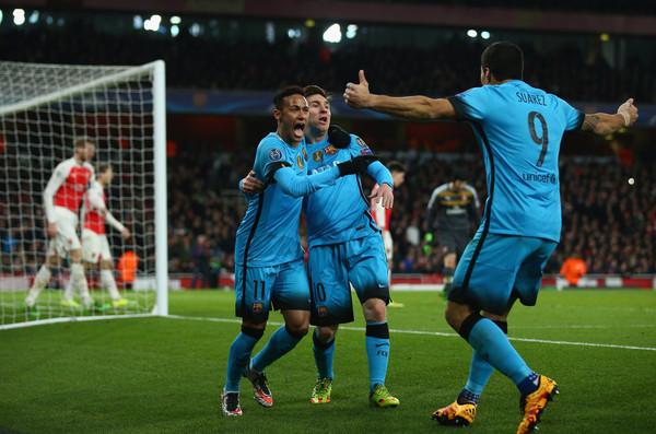 Messi, Neymar and Suarez celebrating