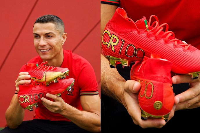 Nike presents Ronaldo with special boots for his 100 International Goals