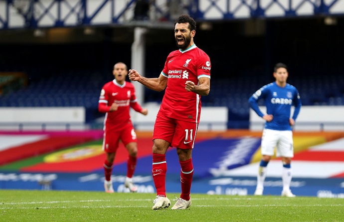Mo Salah nets 100th goal for Liverpool in Merseyside derby