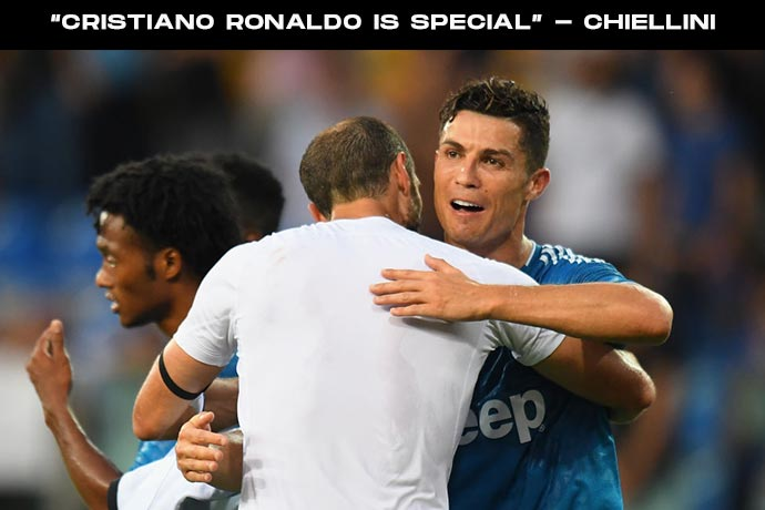 """""""Cristiano Ronaldo is special, I'm lucky to play with him,"""" - Chiellini"""