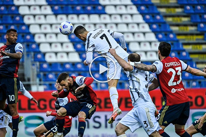 Video: Cristiano Ronaldo Amazing Header Goal | Cagliari 0-1 Juventus
