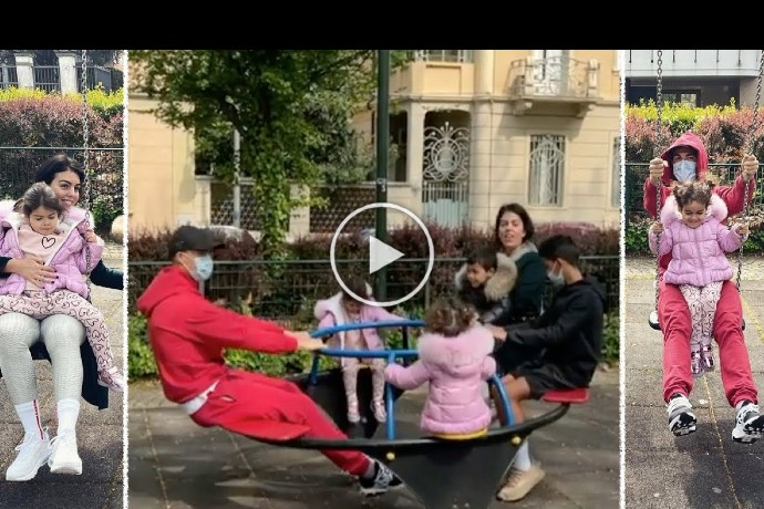 Video: Cristiano Ronaldo and Georgina Rodriguez ride a swing with all their kids