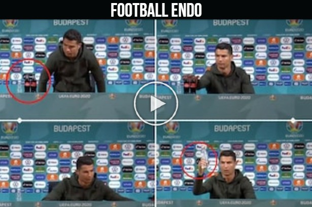 """Video: Cristiano Ronaldo replaces UEFA sponsor drink with water – """"Drink Water!"""""""