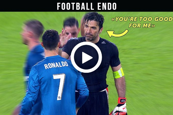 (Video) Watch What happens if goalkeeper Buffon challenges Ronaldo?