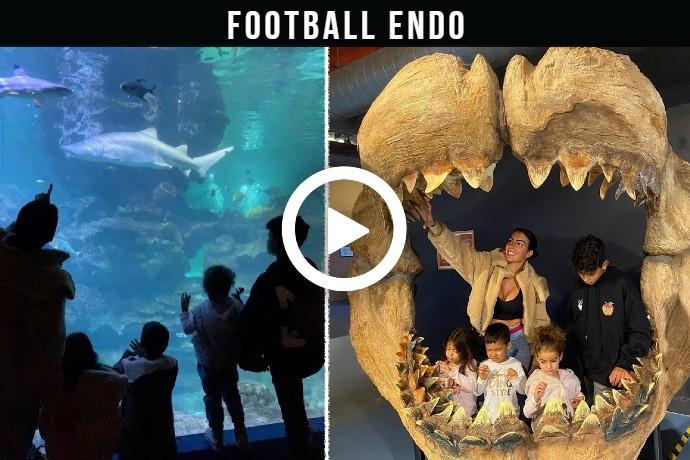 Video: Georgina Rodriguez with CR7 Jr and younger children visit Blue Planet Aquarium