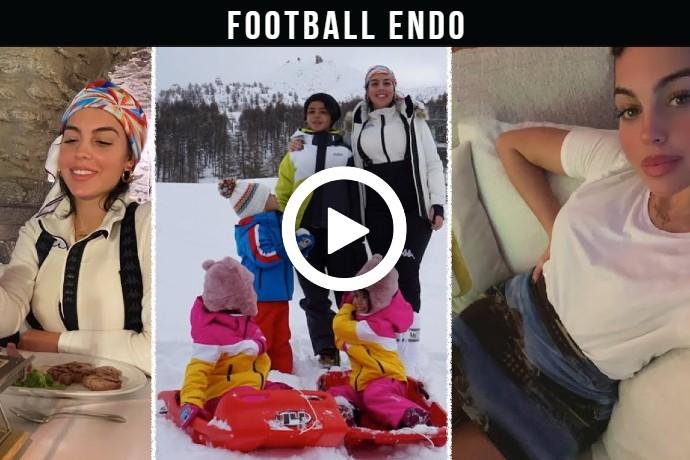 Video: Georgina Rodriguez Ronaldo & CR7 Jr & younger children holiday in a ski resort