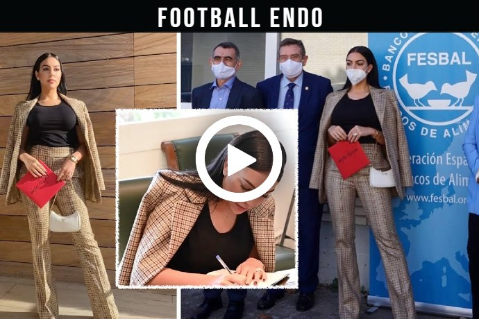 Video: Georgina Rodriguez donate check 20 000 euro Spanish FESBAL in support of hungry