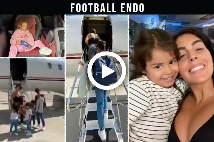 Video: Georgina Rodriguez Ronaldo with all children arrive in Manchester